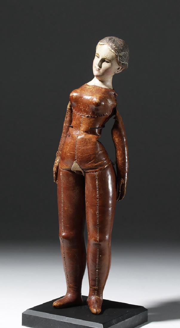 19th C. Mexican Santo w/ Leather Body - Santa Maria - 5