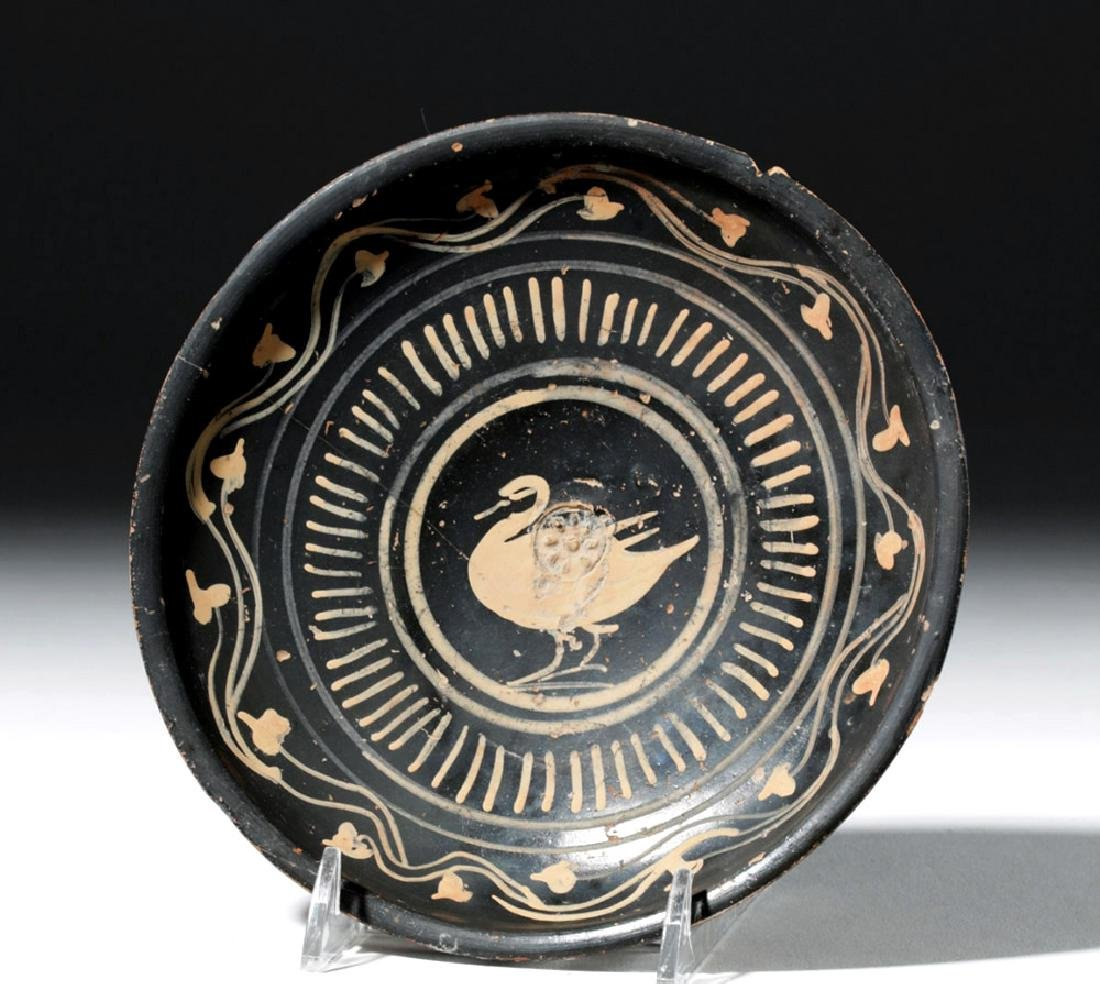 Greek Xenonware Plate, Pink Flowering Vine & Swan