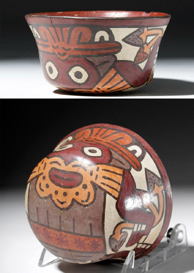 Nazca Polychrome Bowl w/ Two Faces & Trophy Heads