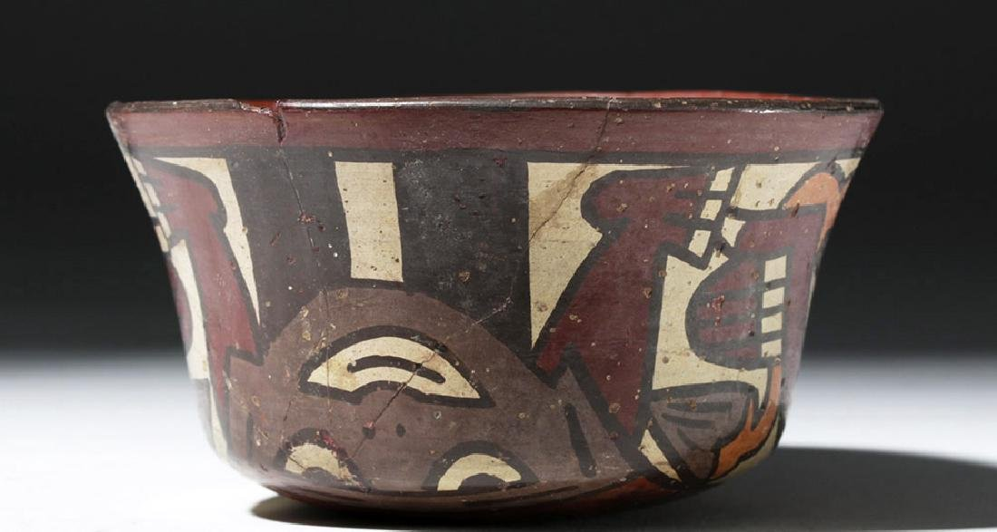 Nazca Polychrome Bowl w/ Two Faces & Trophy Heads - 3