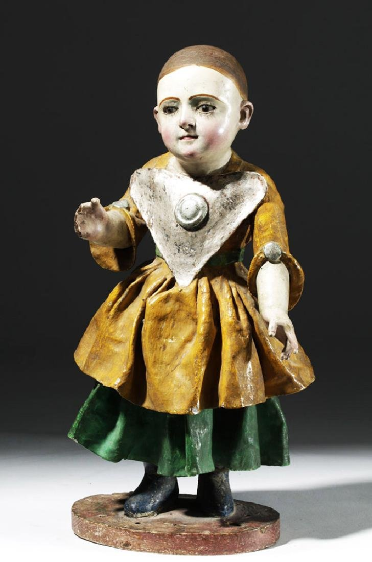 Early 19th C. Mexican Papier Mache & Plaster Nina Maria