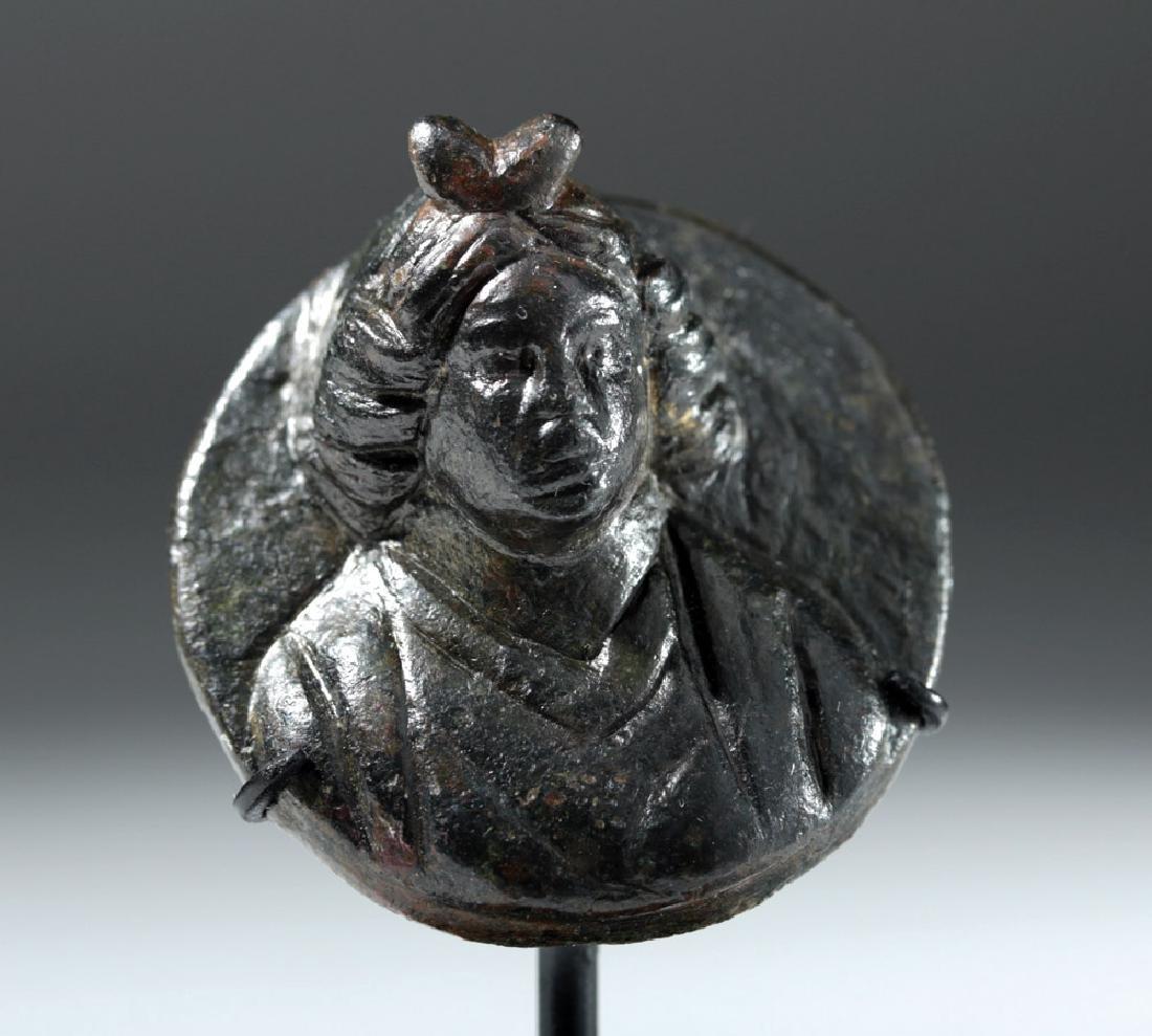 Roman Bronze Roundel in Form of Female