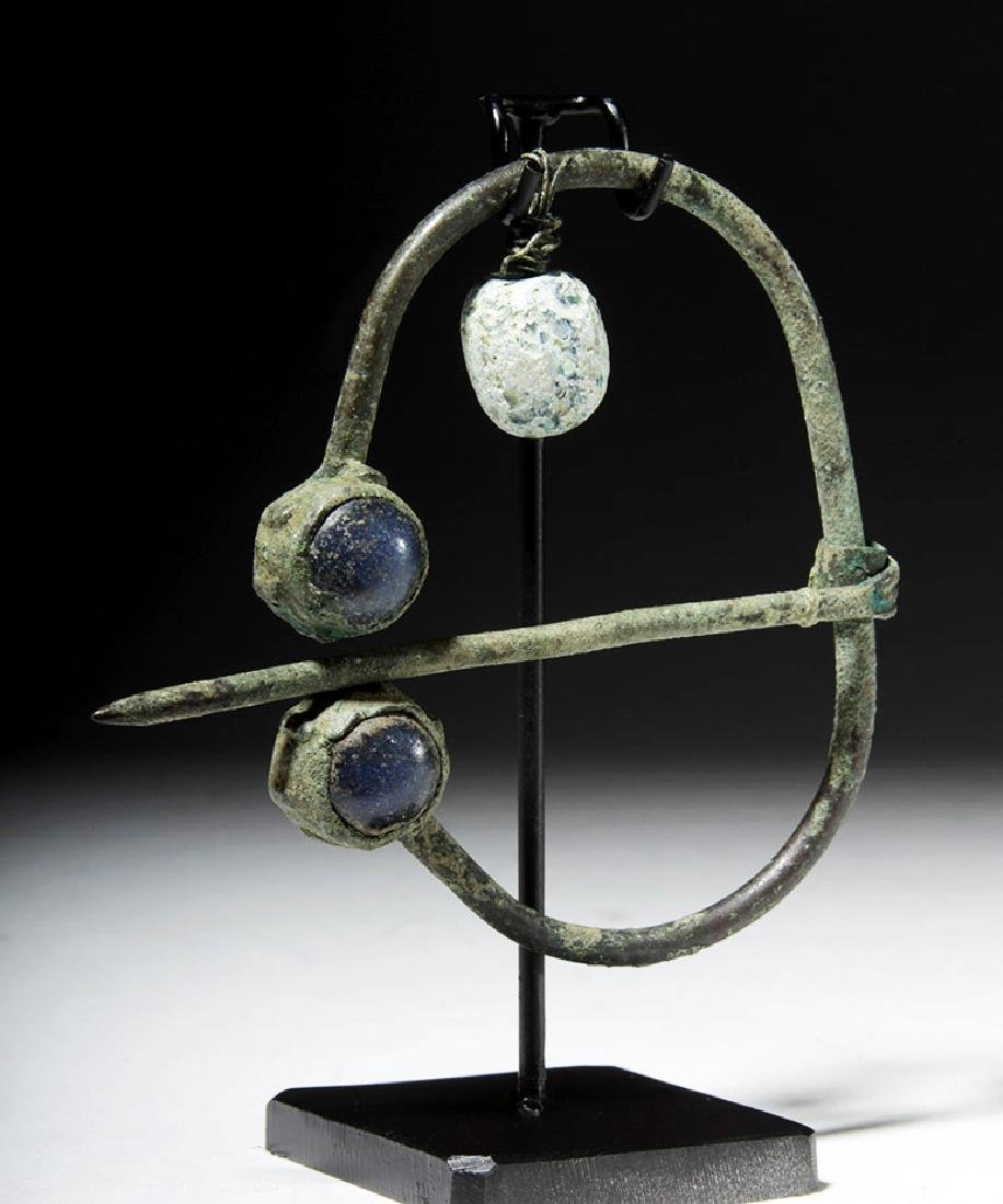 Ancient Viking Bronze / Glass Brooch - 3