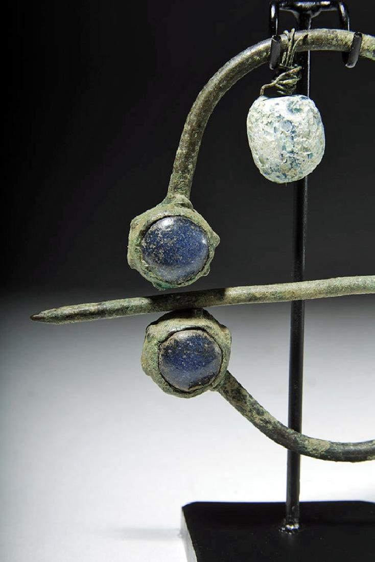Ancient Viking Bronze / Glass Brooch - 6
