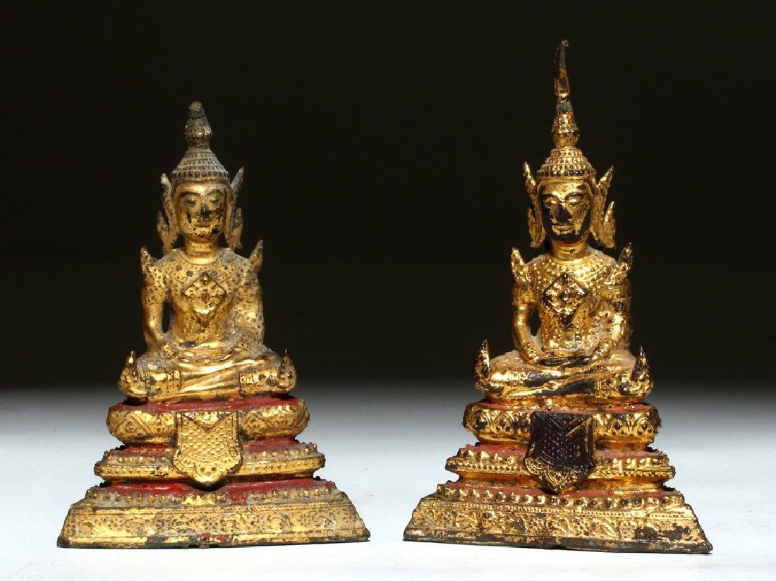 19th C. Thai Gilded Bronze Seated Buddhas (pr)