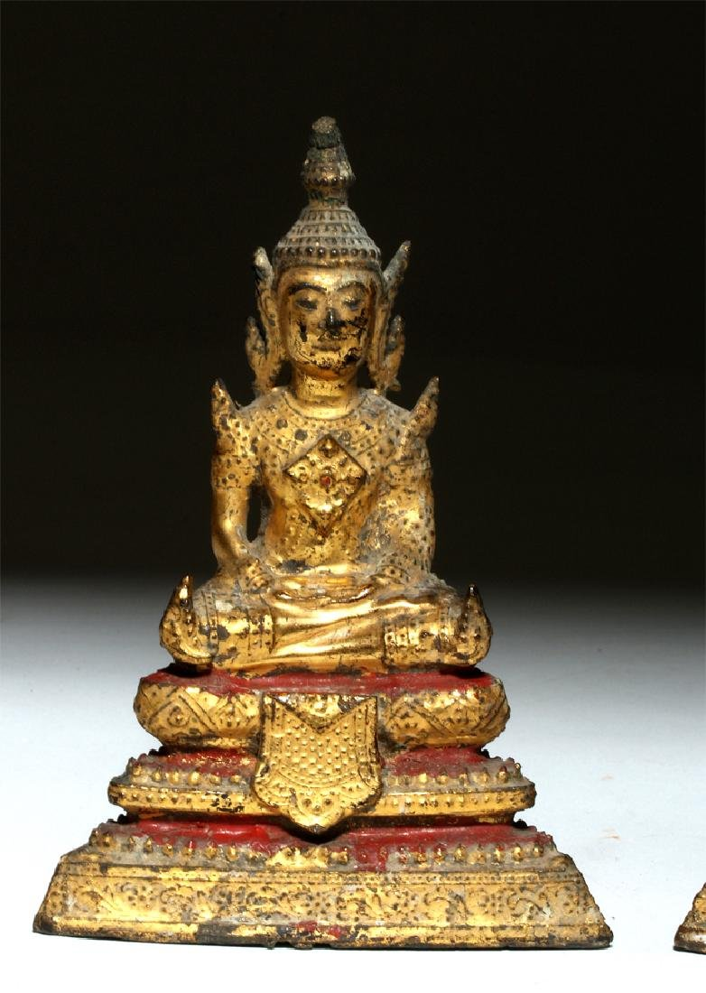 19th C. Thai Gilded Bronze Seated Buddhas (pr) - 2