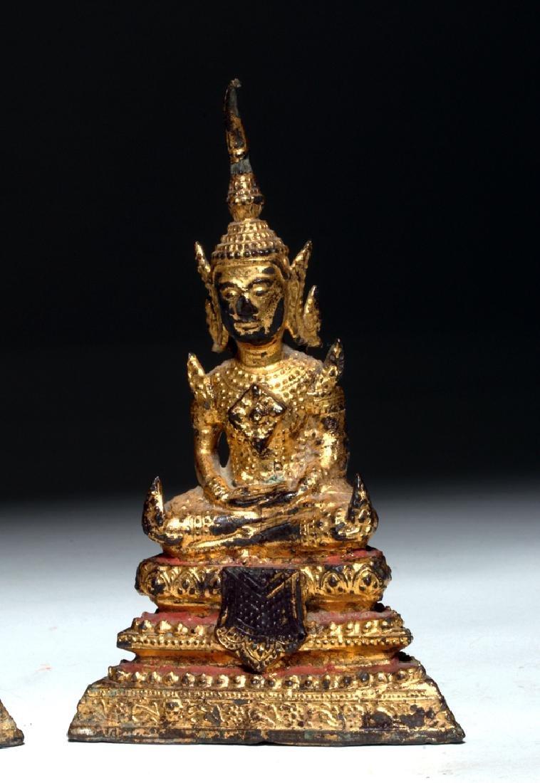 19th C. Thai Gilded Bronze Seated Buddhas (pr) - 3