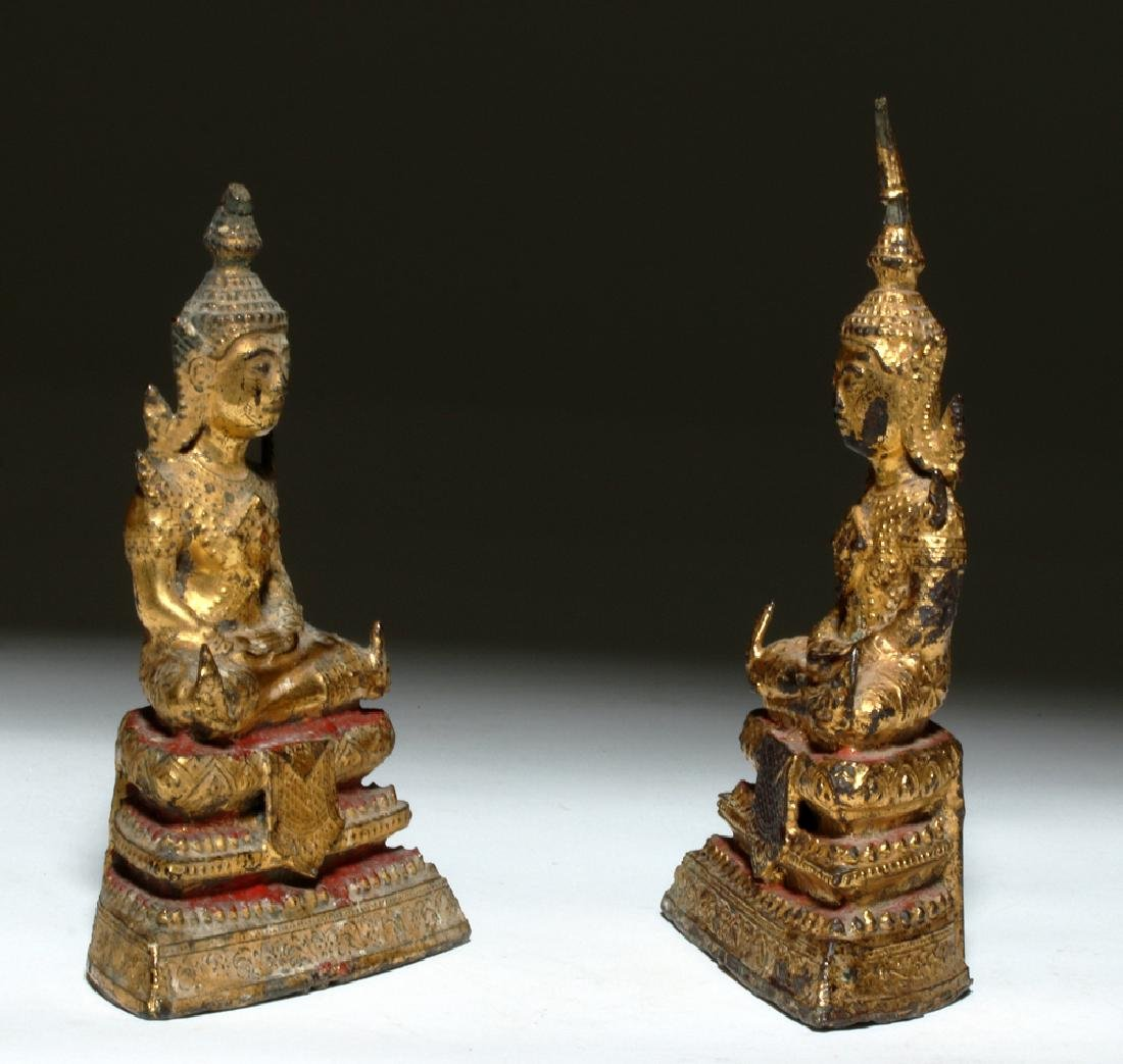 19th C. Thai Gilded Bronze Seated Buddhas (pr) - 4