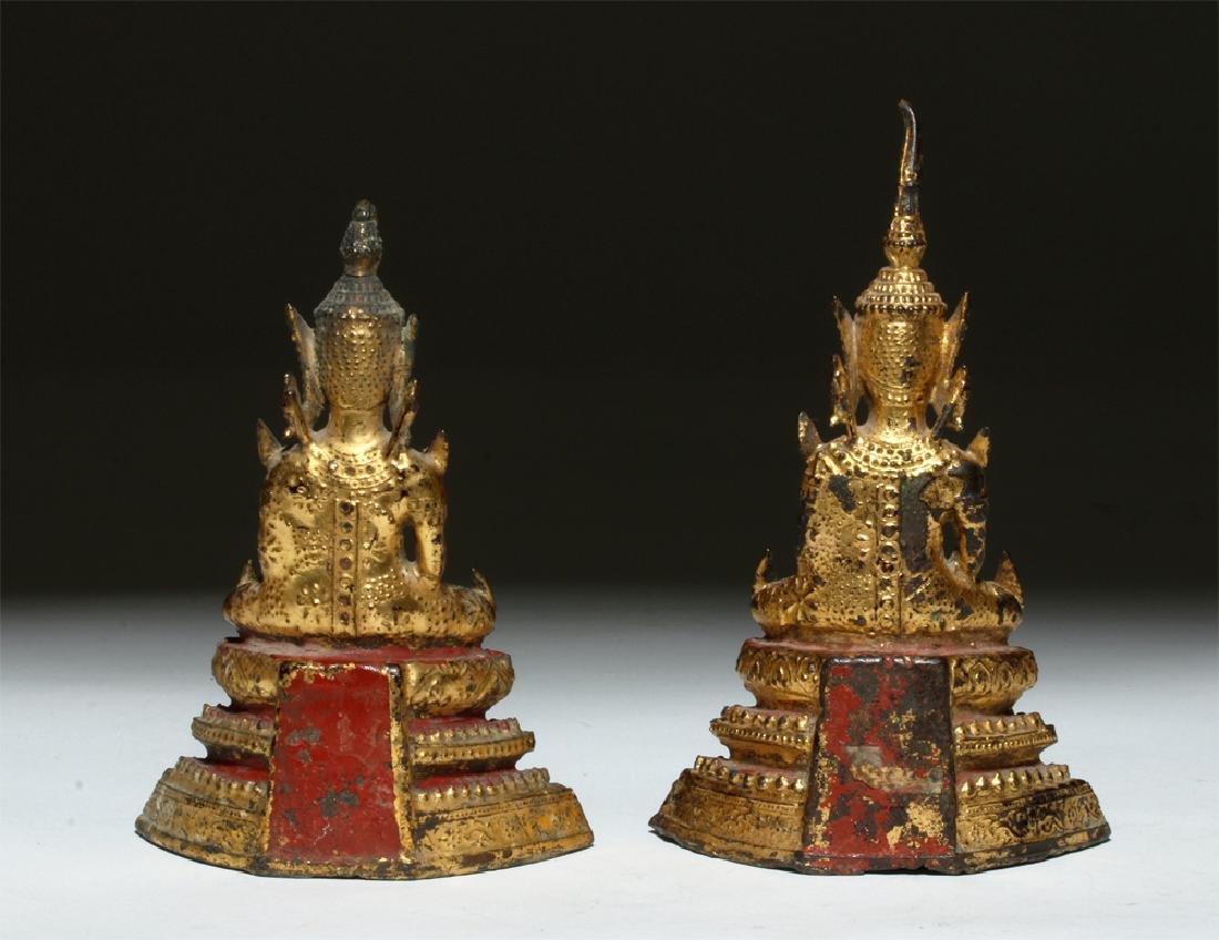 19th C. Thai Gilded Bronze Seated Buddhas (pr) - 5