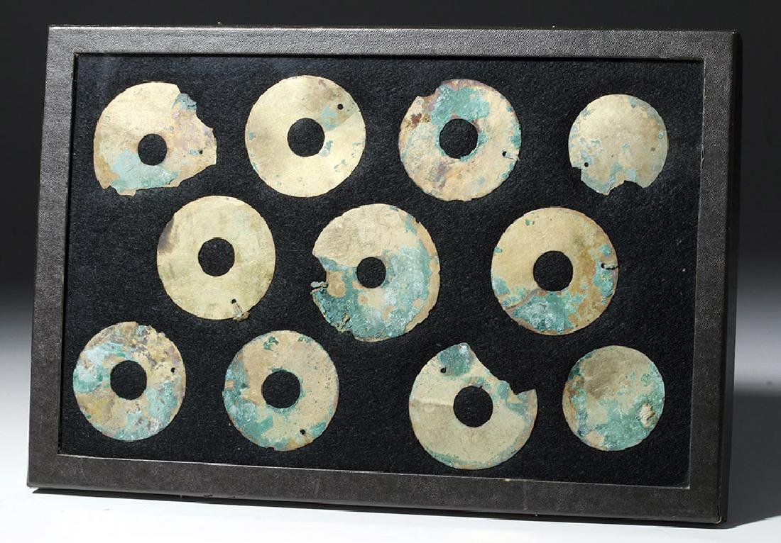 Group of 11 Moche Gold Tumbaga Discs