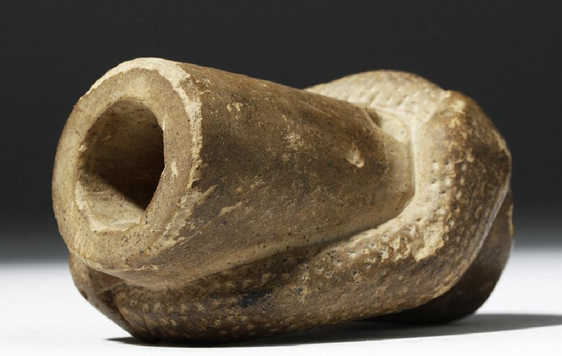 Native American Mississippian Stone Snake Effigy Pipe - 7
