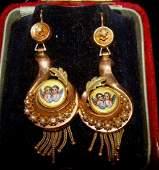 Victorian 14Kt Gold, Enamel & Seed Pearl  Earrings