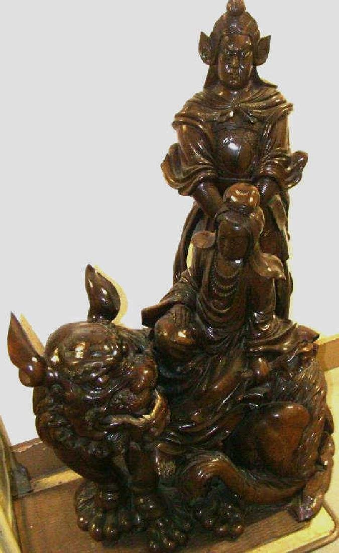 Lifesize Antique Carved Chinese Sculpture Grouping