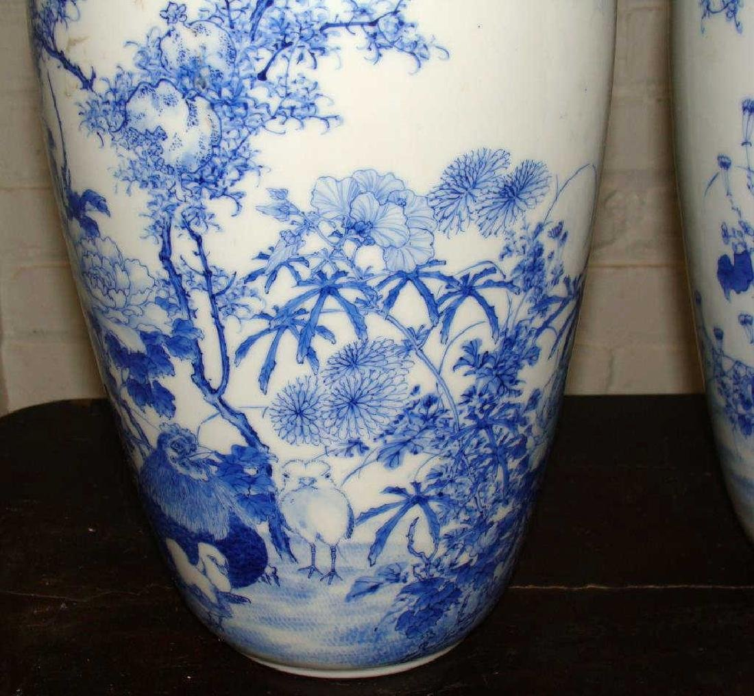 Pair of Antique Blue and Whites Vases - 2