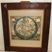 Art Deco Framed Astrology Map