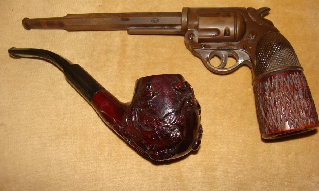 2 Carved  Gun Pipes - 2