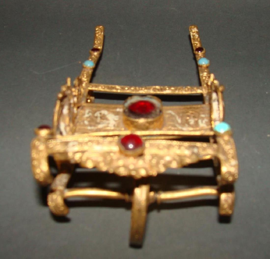 Gilt and Stone Miniature Rickshaw Sculpture - 3