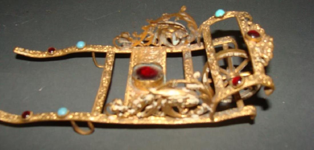 Gilt and Stone Miniature Rickshaw Sculpture - 4