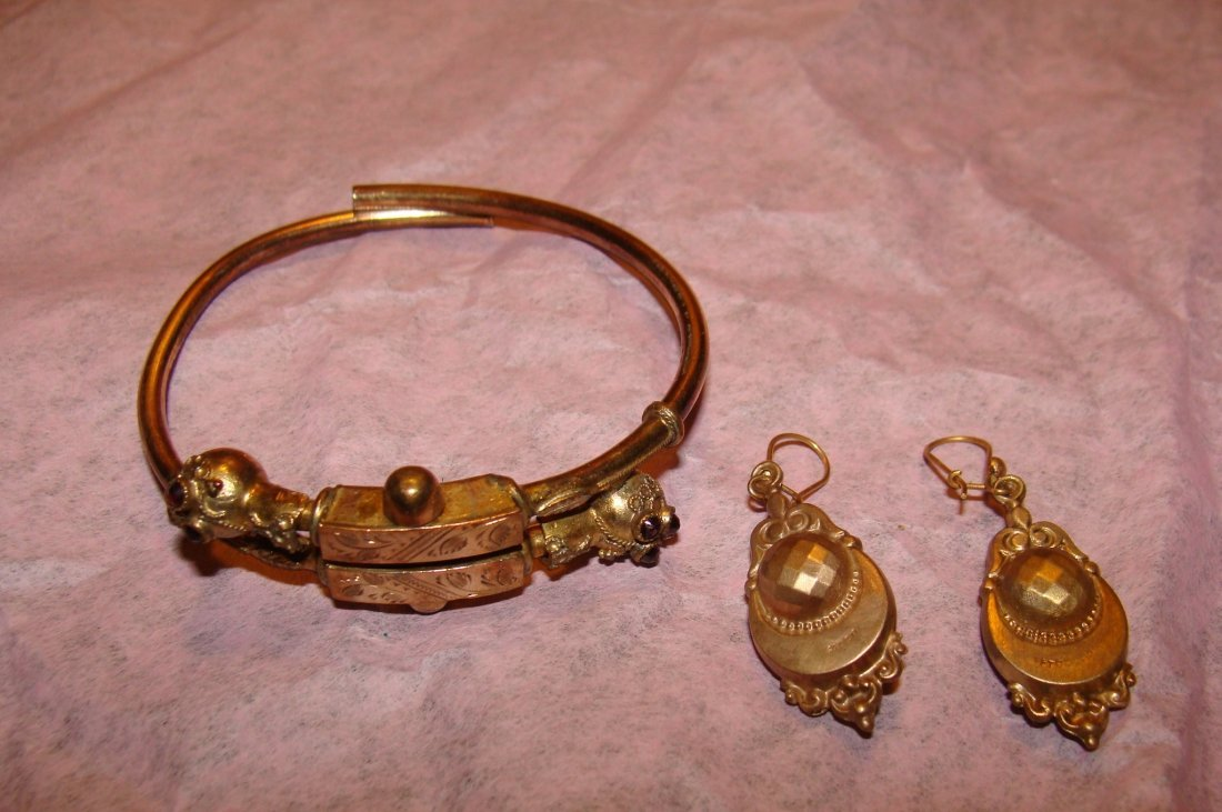 Victorian Jewelry 10Kt Gold Bangle and Earrings