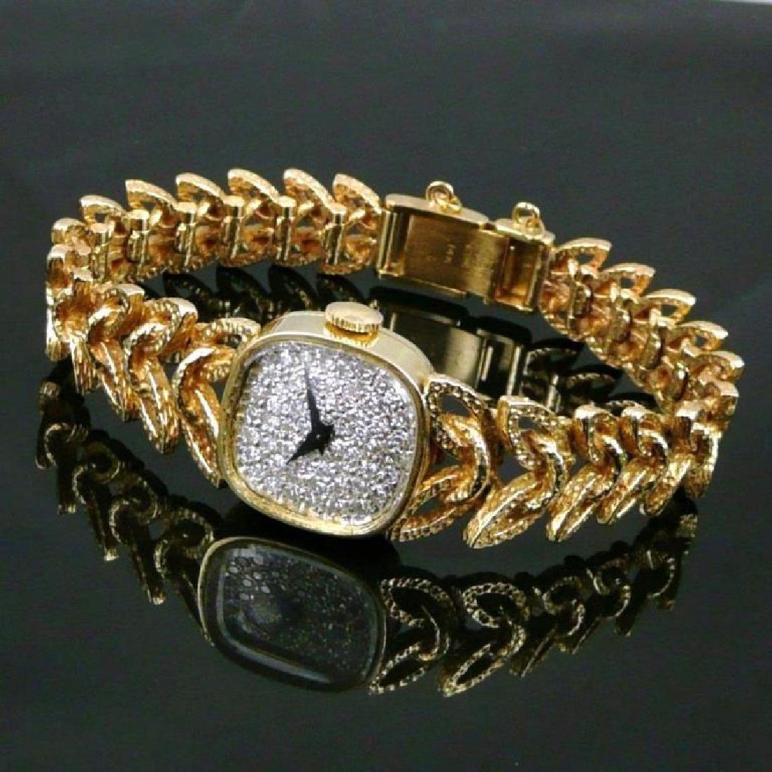 Vintage 14K Gold & Diamond Longines Wittnauer