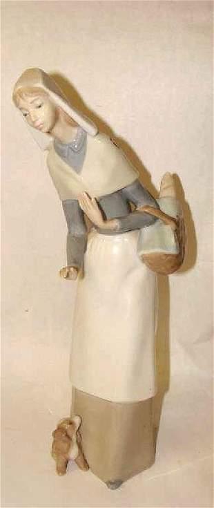 Llardo Figurine Lady with Basket and Dog