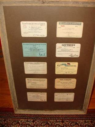 Framed Lot of 1920 Railroad Passes