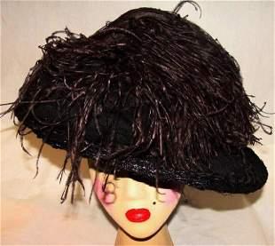Antique Ostrich Plumes Hat,1900