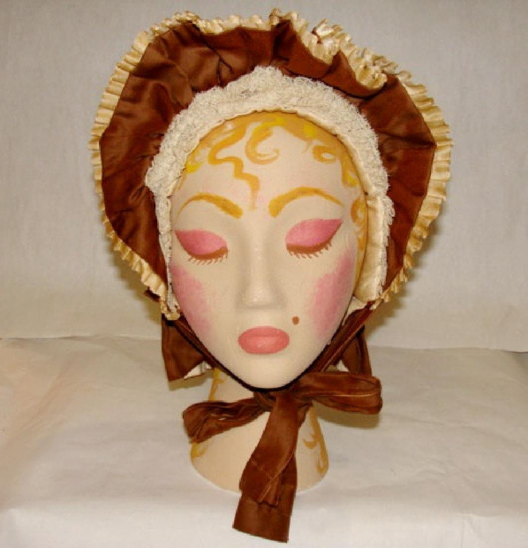 Antique Brown and White Ruffle Hat, 1900