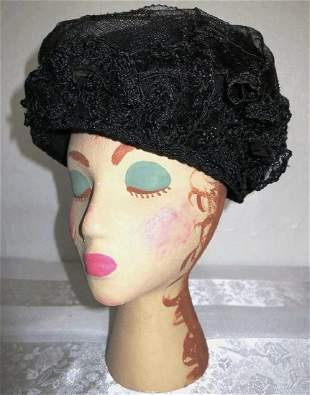 Antique 1890s Black Toque Hat