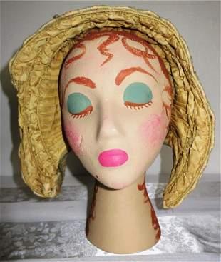Early Cream Silk Bonnet Hat 1845