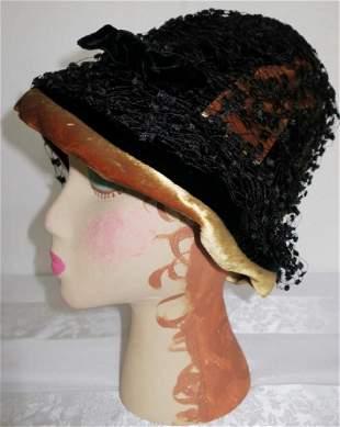 Vintage 1960s Black and Velvet Hat