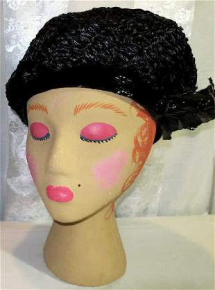 Black Shiny Straw High Crown Pill Box Hat