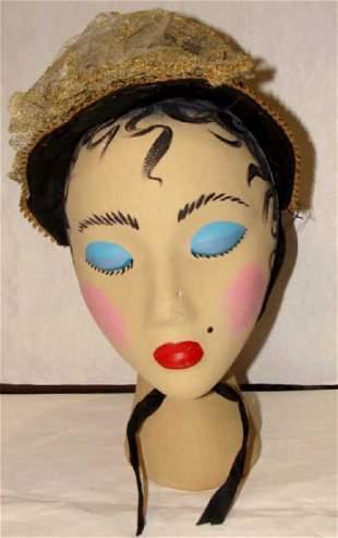 Antique Black Straw Bonnet Hat 1860
