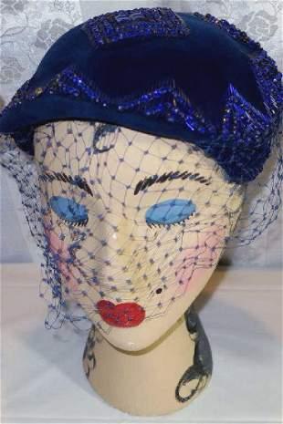 Vintage Purple Cocktail Hat 1950 1960
