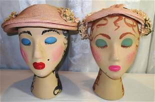 Lot of Two Straw Hats 1950s