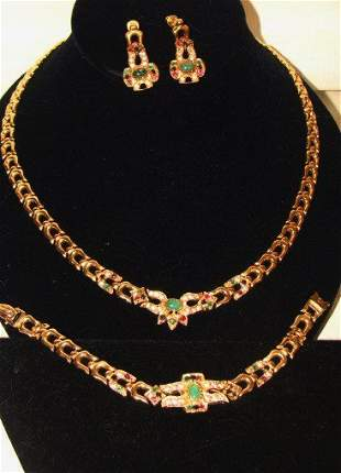 14K Gold Necklace Earrings and Matching Bracelet