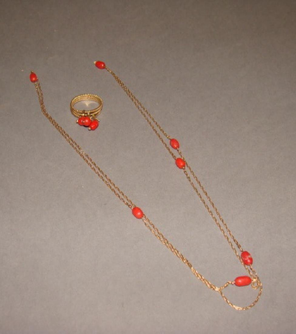 14KT Yellow Gold & Coral Necklace and Ring Set
