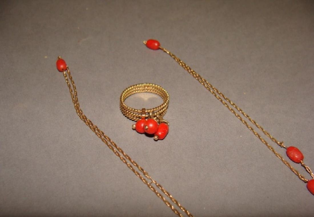 14KT Yellow Gold & Coral Necklace and Ring Set - 2