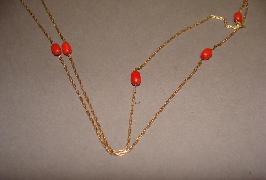 14KT Yellow Gold & Coral Necklace and Ring Set - 3