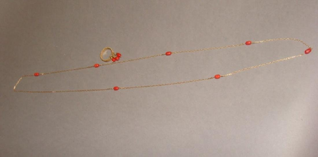 14KT Yellow Gold & Coral Necklace and Ring Set - 4