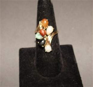 14KT Yellow Gold Multicolor Jade Ring