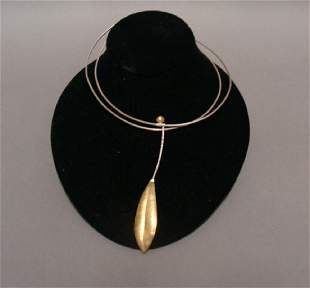 Sterling Chocker and 14KT and Pendant