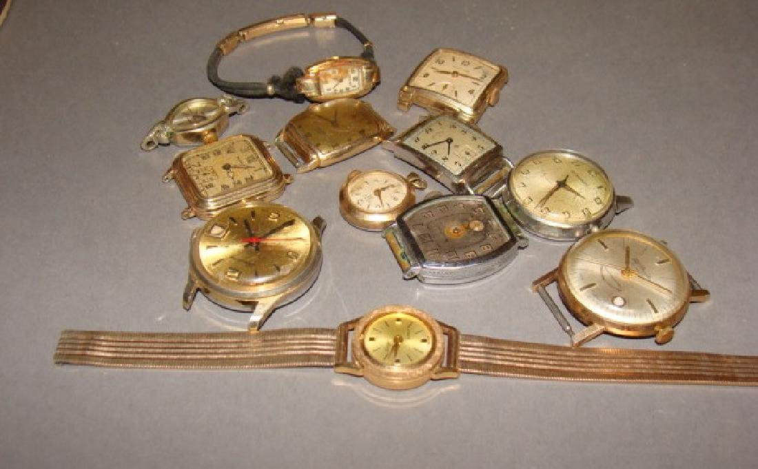 Lot of Gold Watches and Watch Faces