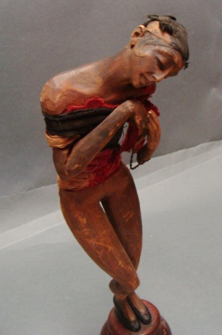 Vintage Wood Carved Josephine Baker Sculpture - 2