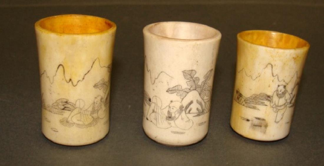 Lot of 3 Chinese Bone Carved Cups