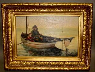 19th C Oil on Canvas Seascape EC Baddyor