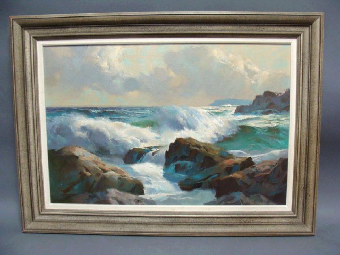 Oil on Canvas Seascape, Alphonse J Shelton