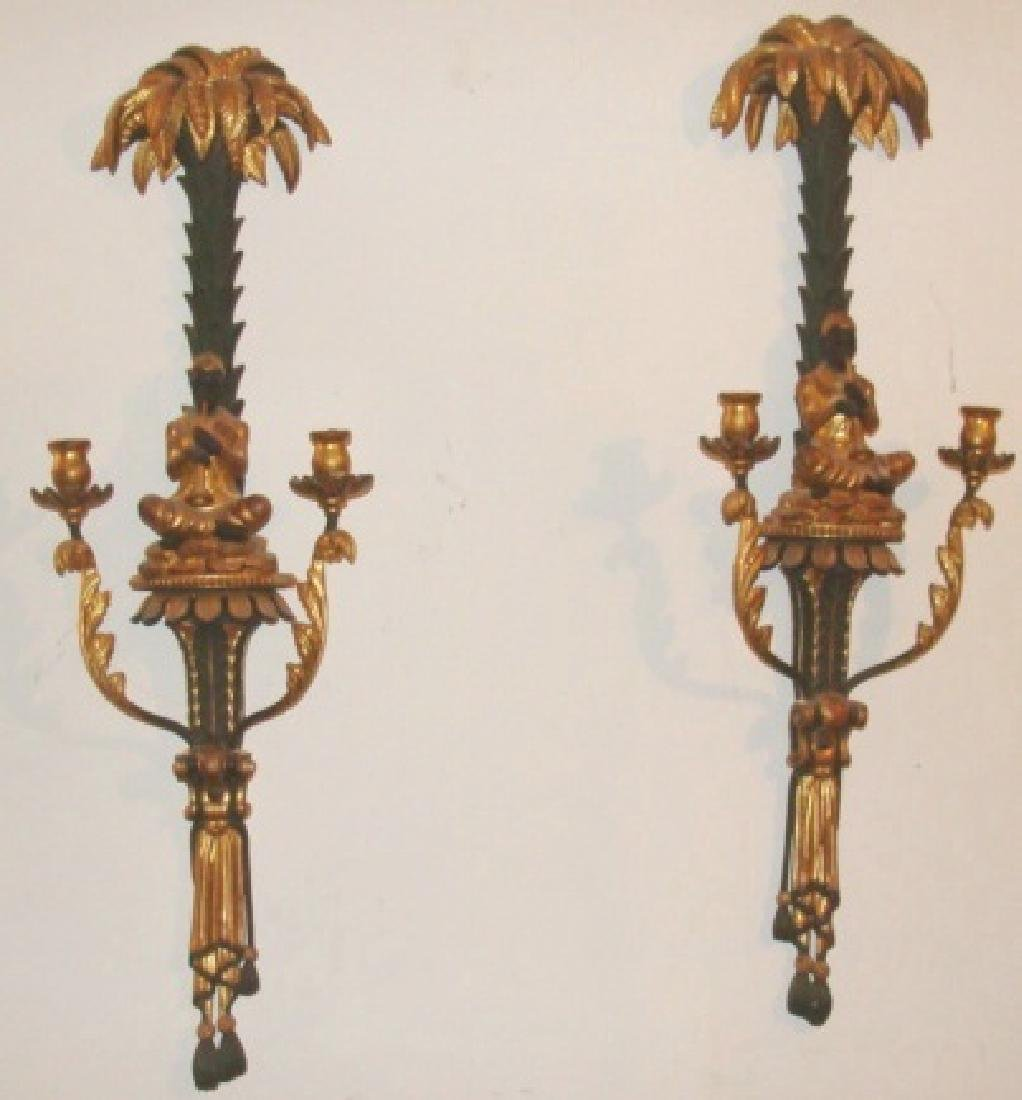 Pair Blackamoors Wall Sconces