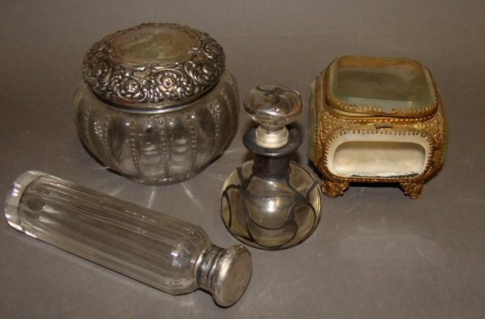 Grouping of Dresser Jars, Sterling Tops