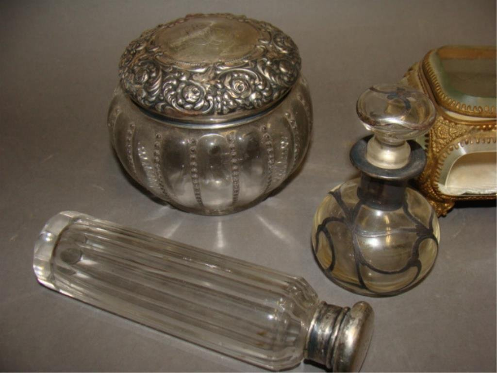 Grouping of Dresser Jars, Sterling Tops - 2